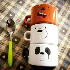Discovered by Find images and videos about cute, panda and mugs on We Heart It - the app to get lost in what you love. We Bare Bears, We Bear, Cute Cups, Cute School Supplies, Diy And Crafts, Geek Stuff, Cartoon, Cool Stuff, Decoration