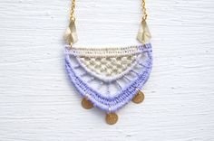 Lavender and Ivory Ombre Lace and Gold Necklace by White Bear