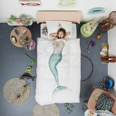 MERMAID DUVET COVER SET    In your dreams, you can be anything you want, like a mythical mermaid with a glittery tail and a seahorse crown. Off to that magical underwater world where you're sure to make a splash!