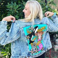 Vegan Custom Painted Denim Jackets on Etsy (affiliate link)