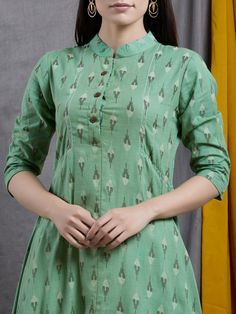 Green Cotton Ikat Asymmetric Kurta with White Palazzo - Set of Kurta to go with every occasion, be it printed embroidered or sequined. Printed Kurti Designs, New Kurti Designs, Churidar Designs, Kurta Designs Women, Kurti Designs Party Wear, Designs For Dresses, Blouse Designs, Feeding Dresses, Simple Kurta Designs