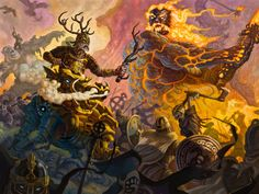 Selected oil paintings by samflegalart (website) depicting scenes from the Norse Myths.