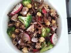 Balsamic octopus, fresh tuna, radish, chickpea, broccoli, dried currants and quinoa salad