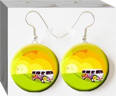 #Button Charm Jewelry, hippie van earrings, Volkswagon van earrings