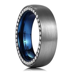 King Will EDGE Dome Brushed Blue Tungsten Carbide Ring Cubic Zirconia Inlay Infeed Wedding Band Comfort Fit 7 Rose Gold Promise Ring, Tungsten Carbide Rings, Wedding Bands, Rings For Men, Blue, Stuff To Buy, King, Amazon, Jewelry