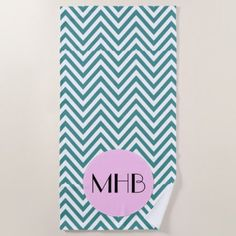 Monogram - Zigzag Chevron Pattern - Blue Pink Beach Towel - home gifts ideas decor special unique custom individual customized individualized