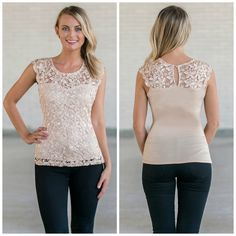 This beige lace top pairs well with denim or black pants:  http://ss1.us/a/7Lznm5Le