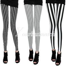 Black White Vertical Stripes Zebra Skinny Slim Cotton Sexy Leggings Tights Pants | eBay