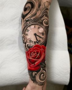 Time Hand Tattoos for Men . Time Hand Tattoos for Men . Pin On Tattoo Clock Tattoo Sleeve, Clock And Rose Tattoo, Tattoo Sleeve Designs, Tattoo Designs Men, Rose Tattoo Forearm, Forearm Sleeve Tattoos, Best Sleeve Tattoos, Sleeve Tattoos For Women, Rose Tattoos For Women