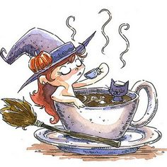 HALLOWEEN WITCH AND BLACK CAT IN A CUP OF COFFEE