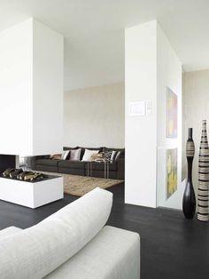 dark floor white walls