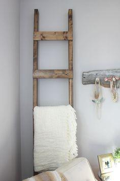 30 Minute DIY Blanket Ladder - http://akadesign.ca/diy-blanket-ladder/