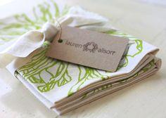 Dish Towel Tea Kitchen Daisy Flower Green Chartreuse Cloth Linen Screen Print Hand-Printed Gift Single Towel. $18.00, via Etsy.