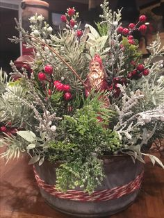 christmas arrangement with santa figurine available to purchase on etsy - Christmas In The Country Erie Pa