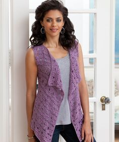 Drapey Crochet Vest-Do   I love the color-or the pattern? Doesn't matter! It's a free pattern from Red Heart and I do love it!  http://www.redheart.com/free-patterns/drapey-crochet-vest