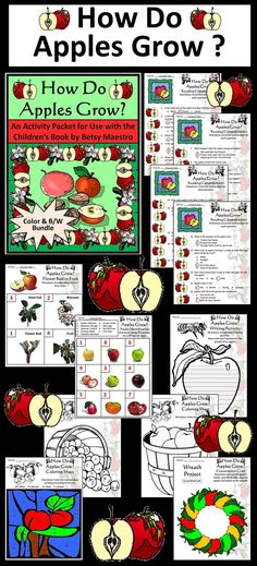 How Do Apples Grow Bundle: This activity packet complements the children's book, How Do Apples Grow, by Betsy Maestro.  Contents include: * Reading comprehension quiz  * Apple matching worksheet * Apple growth stages sequencing worksheet * Pollination writing activity * Math coloring worksheet * Two apple bushel coloring sheets * Apple wreath construction craft  * Answer keys  #Apples #Science #Plants #Activities #Worksheets #Autumn #Fall #Harvest #Thanksgiving #Halloween #Spring