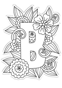Hand Lettering Alphabet, Alphabet Stamps, Alphabet Stencils, Cute Little Drawings, Art Drawings For Kids, Coloring Books, Coloring Pages, Embroidery Alphabet, Floral Embroidery Patterns