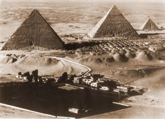 An poster sized print, approx (other products available) - The Pyramids of Giza, Egypt - Aerial Photograph. Date: circa - Image supplied by Mary Evans Prints Online - Poster printed in the USA Giza Egypt, Pyramids Of Giza, Ancient Egypt, Ancient History, Aliens, Afrika Corps, Ancient Civilizations, Aerial View, Wonderful Images