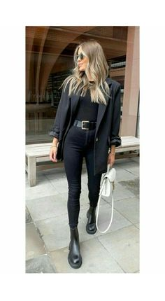 Business Casual Outfits, Casual Winter Outfits, Winter Fashion Outfits, Classy Outfits, Look Fashion, Stylish Outfits, Fall Outfits, Black Outfits, Black Aesthetic Fashion