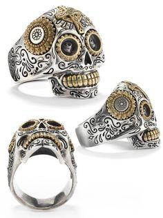 Sugar Skull Calavera silver tone Necklace and Earring Set