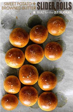 Potato Slider Buns- Sweet potato and browned butter rolls.