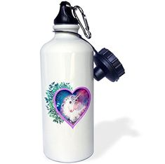 """Camping Kitchen :""""3dRose wb_11622_1 Sweet Unicorn Inside of a Heart : Floral : Leaves : Myth : Legend Sports Water Bottle : 21 oz : White"""" *** Don't get left behind, see this great product"""
