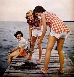 fishing in gingham & white shorts