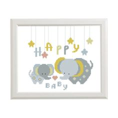 Happy baby Cross stitch pattern  Elephant  от AnimalsCrossStitch