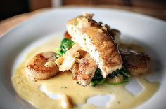 Feeding Andy: Halibut w/ Spinach & Scallop-Citrus Beurre Blanc - i broke the butter sauce, make sure to incorporate the butter as stated. Halibut Recipes, Fish Recipes, Seafood Recipes, Cooking Recipes, Seafood Dishes, Fish And Seafood, Yummy Eats, Yummy Food, Kentucky Food