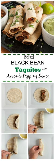 These baked black bean taquitos are vegetarian, packed with veggies, and way lighter than the store bought kind without sacrificing any flavor.  - Feasting Not Fasting