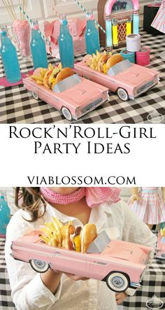 Rock'N'Roll girl party ideas for a hop sock party or a American girl party! Rock'N'Roll girl party ideas for a hop sock party or a American girl party! Diner Party, Retro Party, 1950s Party, Fifties Party, Anniversaire Pin Up, Festa Rock Roll, Festa Pin Up, 50s Theme Parties, Party Themes For Kids