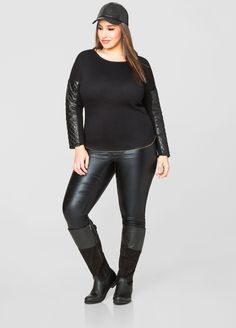 Mixed Media Back Buckle Flat Tall Boot - Extra Wide Width Wide Calf - Ashley Stewart