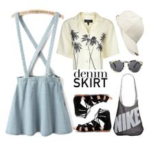 """Denim Skirt"" by carlina-tof ❤ liked on Polyvore featuring rag & bone, Illesteva, NIKE, Whistles, women's clothing, women's fashion, women, female, woman and misses"