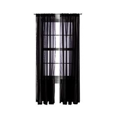Room Essentials Voile Sheer Curtain Panel Pair - Black ($19) ❤ liked on Polyvore featuring home, home decor, window treatments, curtains, black, sheer draperies, voile curtains, sheer voile curtain panels, sheer curtains and sheer panels