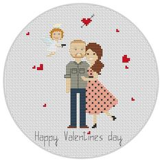 Custom Valentines day cross stitch Love Heart Cupidon Happy Valentine's Day Pixel art Wedding Cross stitch Anniversary gift