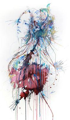 Watercolor drip portrait.