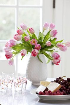Pink Tulips, Tulips Flowers, Pretty Flowers, Fresh Flowers, Hill Interiors, Pink Houses, Interior Photography, Cottage Living, Color Themes