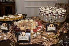 gatsby sweet 16: Check out the way the desserts are swanked-up. Printed cards, shiny material, gems, pearls, etc.