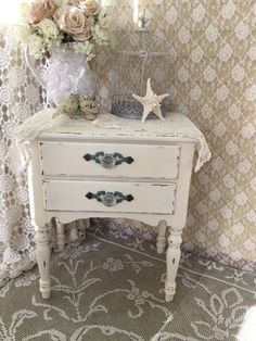 A personal favorite from my Etsy shop https://www.etsy.com/listing/262914817/shabby-ornate-tablenightstandend
