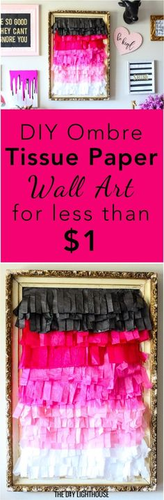 DIY Ombre Tissue Paper Fringe Wall Decor - The DIY Lighthouse - espanpin. Diy Ombre, Easy Diy Crafts, Fun Crafts, Fun Diy, Paper Crafts, Art Projects For Adults, Paper Wall Art, Paper Quilling Designs, Do It Yourself Crafts