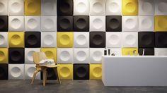 Nowoczesny panel 3D na ścianę, różne kolory, minimalistyczny kształt: wklęsłe kolo i wypukły kwadrat