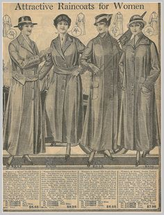 1916 raincoats for women