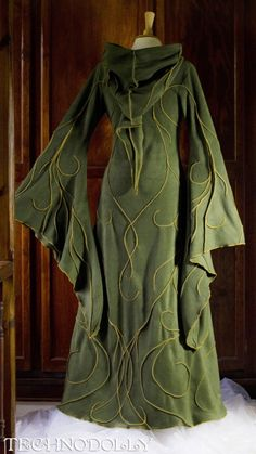 Forest green hooded robe.
