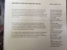 Beetroot avacado and pea salad