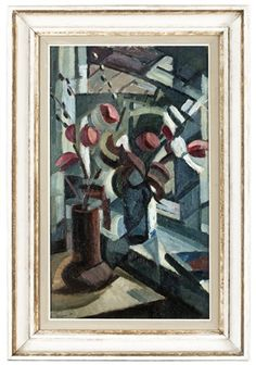 Blommor i fönster by Agnes Cleve