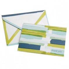 Thank You Card - Watercolor Stripes