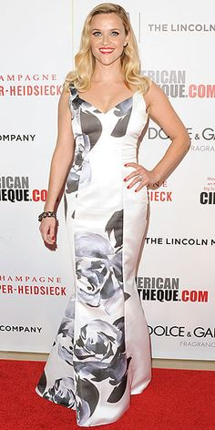 Last Night's Look: Love It or Leave It? | REEESE WITHERSPOON | Also the American Cinematheque Award gala, Reese selects a satin Prabal Gurung gown with a brush-painted rose print, adding a pop of color on her lips and nails.