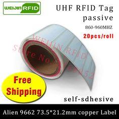 UHF RFID tag sticker Alien 9662 printable copper label 915mhz 868mhz Higgs3 EPC 6C 20pcs free shipping adhesive passive RFID lab #Affiliate