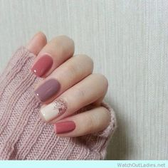 A nice fall autumn nail design so pretty and warm More