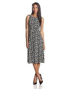 Jessica Howard Women's Sleeveless Ruched Waist Printed Seamed Skirt Dress $46.75